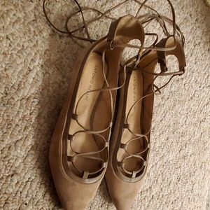 Antonio Melani suede flats with ankle wrap ties